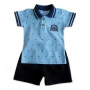 Conj. Polo e Bermuda Bebê Menino Marinheiro Serelepe Kids G 9-12 Meses