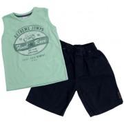 Conj. Infantil Bermuda Sarja e Regata Verde Moto Up Baby Kids