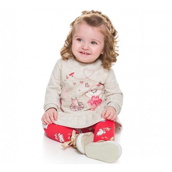 Conj. Bebê Blusão E Legging Brandili Menina Ursa Bailarina M 6-9 Meses