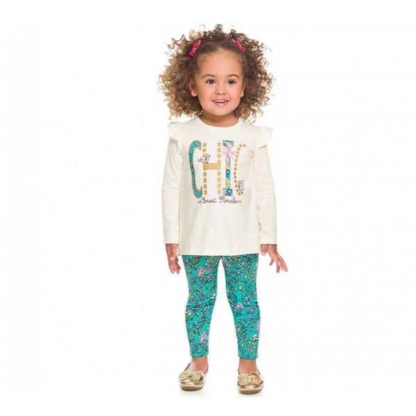 Conj. Infantil Bata e Legging Floral