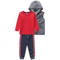 Conj. Infantil 3 Peças Colete Camiseta e Calça Menino Mundi 2 e 3 Anos