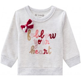 Conj. Bebê Inverno Blusão Flanelado e Calça de Plush Listrada Brandili Menina