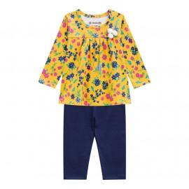 Conj. Bebê Bata Floral Mostarda e Legging Azul Marinho Brandili Menina G