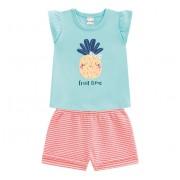 Conj. Bebê Blusa Verde Abacaxi Bermuda Listrada Verão Brandili Menina P M G