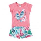 Conj. Bebê Camiseta Manga Curta Rosa Sapatinhos Bermuda Floral Brandili Menina 3 meses