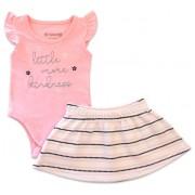 Conj. Bebê Body Rosa Manga Babado e Saia Piquet Listrado Menina Brandili RN-P-M-G