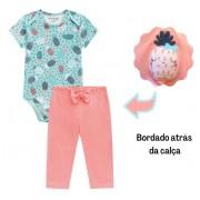 Conj. Bebê Body Manga Curta Verde Abacaxi Calça Legging Salmão Menina Brandili RN-G