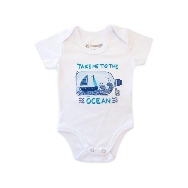 Conj. Bebê Body Marinheiro Manga Curta Calça Listrada Menino Brandili RN P M G