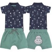Conj. Body Bebê Gola Polo Hipopótamo e Bermuda Bichinho Bumbum Menino Brandili G