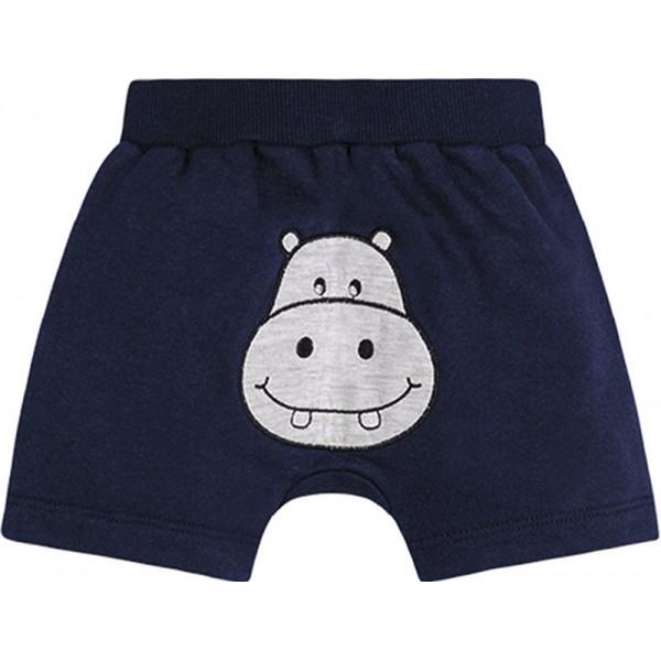 Conj. Body Bebê Gola Polo Hipopótamo e Bermuda Bichinho Bumbum Menino Brandili RN