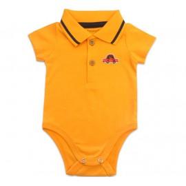 Conj. Bebê Body Gola Polo Laranja e Bermuda Moletinho Carrinhos Menino Brandili RN-G