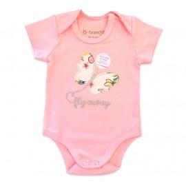 Conj. Bebê Body Manga Curta Rosa Borboleta e Saia Floral Menina Brandili RN-P-M-G