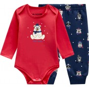 Conj. Body Bebê Manga Longa Ursinho e Calça Estampada Menino Brandili