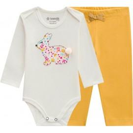 Conj. Bebê Body Coelho Manga Longa e Legging Mostarda Brandili Menina