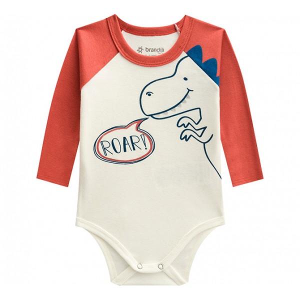 Conj. Body Bebê Manga Longa Dinossauro e Calça Listrada Menino Brandili
