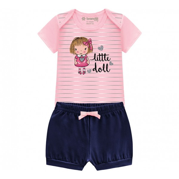 Conj. Bebê Body Manga Curta Bonequinha Rosa e Shorts Tapa Fralda Babadinho Menina Brandili RN-G
