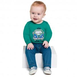 Conj. Bebê Brandili Menino Body Kombi Verde e Calça Jeans M 6-9 Meses