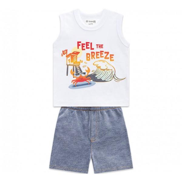 Conj. Bebê Regata Branca Siri Surfista na Praia e Bermuda Tipo Jeans Menino Brandili P M G