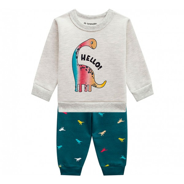 Conj. Bebê Agasalho Moletom Flanelado Dinossauro Calça Estampada Menino Brandili