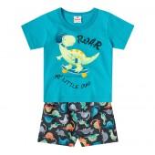 Conj. Bebê Dinossauro Camiseta Manga Curta Azul Bermuda Estampada Menino Brandili M