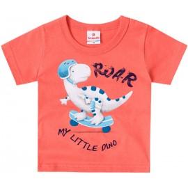 Conj. Bebê Dinossauro Camiseta Manga Curta Laranja Bermuda Estampada Menino Brandili M