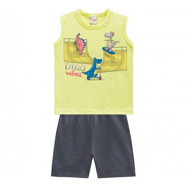 Conj. Bebê Camiseta Regata Verde Dinossauros Skatistas Bermuda Moletinho Cinza Brandili Menino P M G