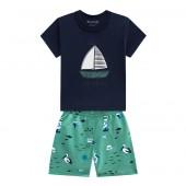 Conj. Bebê Marinheiro Camiseta Barquinho Azul Marinho e Bermuda Moletinho Verde Menino Brandili P/M/G
