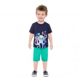 Conj. Bebê Camiseta Manga Curta Azul Marinho Fundo do Mar Polvo Mergulhador Bermuda Moletinho Verde Brandili Menino P M G