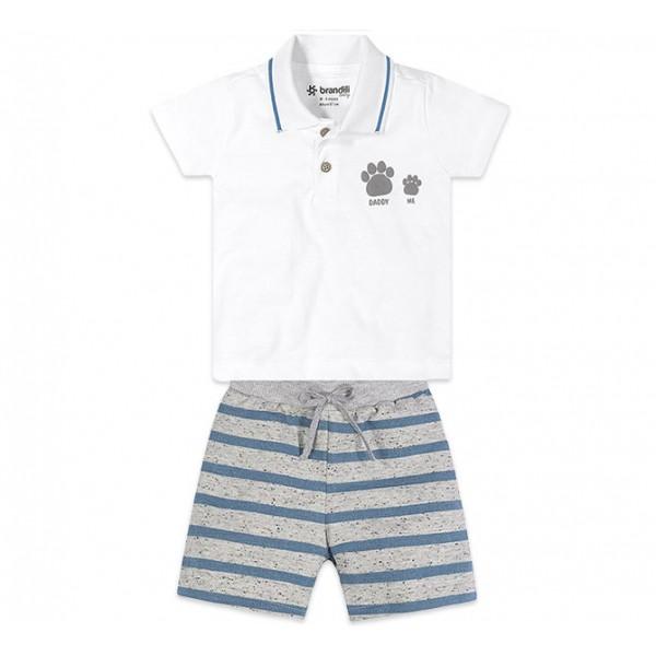 Conj. Bebê Gola Polo Papai e Eu e Bermuda Moletinho Listrada Menino Brandili 6-9 Meses