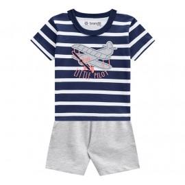 Conj. Bebê Camiseta Manga Curta Listrada Avião Bermuda Moletinho Menino Brandili P-M-G