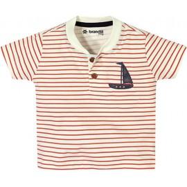 Conj. Bebê Camiseta Manga Curta Listrada Barquinho e Bermuda de Tecido Menino Brandili 3-6 Meses