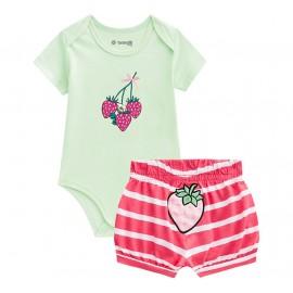 Conj. Bebê Body e Bermuda Tapa Fralda Morango Menina Brandili Baby RN-G