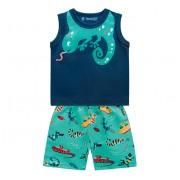 Conj. Bebê Verão Regata Azul e Bermuda Microfibra Estampada Bichinhos Brandili P M G