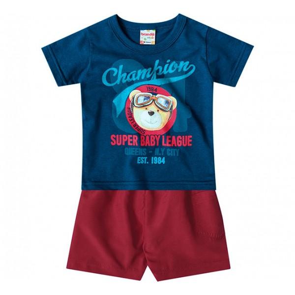 Conj. Bebê Camiseta Manga Curta Ursinho Aviador Azul Bermuda Microfibra Menino Brandili M