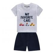 Conj. Bebê Verão Camiseta Manga Curta Carrinhos e Bermuda Moletinho Azul Marinho Menino Brandili P/M/G