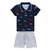 Conj. Bebê Gola Polo Carrinhos Azul Marinho e Bermuda Moletinho Cinza Menino Brandili P/M/G