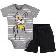 Conj. Body Cachorro e Bermuda Moletinho Bebê Menino Brandili M