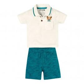 Conj. Gola Polo Cachorro e Bermuda Moletinho Verde Bebê Menino Brandili 3-6 Meses