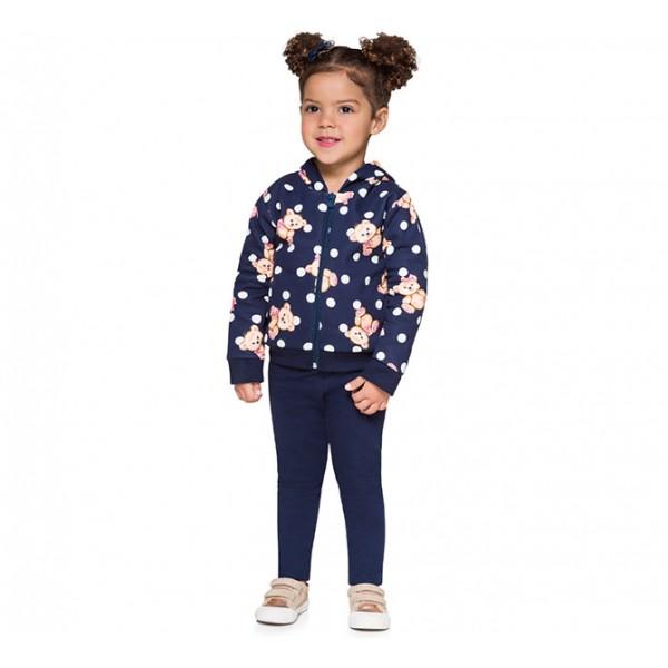 Conj. Infantil Ursinho Blusão com Capuz Aberto com Zíper Azul Marinho Brandili Menina 1-3 Anos