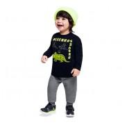 Conj. Infantil Camiseta Manga Longa Preta Dinossauro e Calça Jogger Moletom Brandili Menino 1-3 Anos