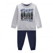 Conj. Infantil Moletom Flanelado Estampa Floresta Cinza e Azul Marinho Mundi Menino 1-3 Anos