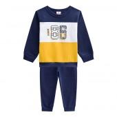 Conj. Infantil Moletom Flanelado Azul Marinho e Amarelo Brandili Menino 1-3 Anos