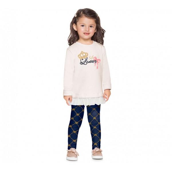 Conj. Infantil Blusão Moletom com Babado e Legging Coroa Azul Marinho Mundi Menina 1-3 Anos