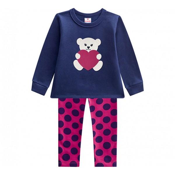 Conj. Infantil Blusão Ursinho com Legging Flanelada Bolas Rosa e Marinho Brandili Menina 1-3 Anos