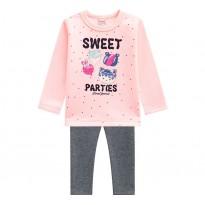 Conj. Infantil Blusão com Legging Flanelados Docinhos Rosa e Cinza Brandili Menina 1-3 Anos