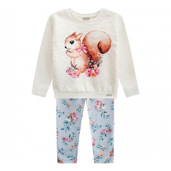 Conj. Infantil Moletom Peluciado Blusão e Legging Floral Esquilo Menina Mundi 1-3 Anos