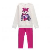 Conj. Infantil Moletom Peluciado Ursinho Panda Brandili Menina Rosa e Cru 4-8 Anos