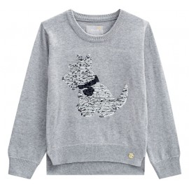 Conj. Infantil Blusão Tricô Cinza Detalhes Lantejoula Cachorro e Legging Preta Mundi Menina 4-8 Anos