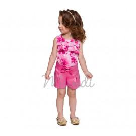 Conj. Infantil Bata Floral Babadinhos e Bermuda Rosê Menina Mundi 3 Anos
