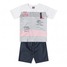 Conj. Infantil Camiseta Manga Curta Listrada e Bermuda de Sarja Azul Menino Mundi 8 Anos